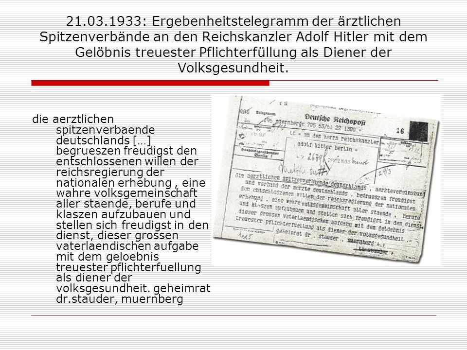 21.03.1933: Ergebenheitstelegramm der ärztlichen Spitzenverbände an den Reichskanzler Adolf Hitler mit dem Gelöbnis treuester Pflichterfüllung als Diener der Volksgesundheit.