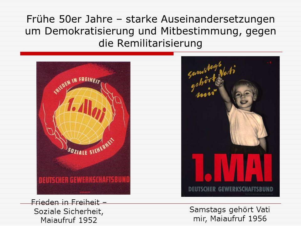 Frühe 50er Jahre – starke Auseinandersetzungen um Demokratisierung und Mitbestimmung, gegen die Remilitarisierung