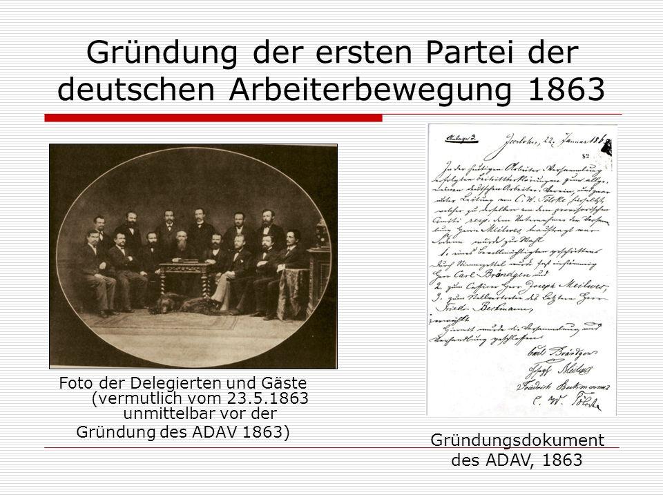 Gründung der ersten Partei der deutschen Arbeiterbewegung 1863