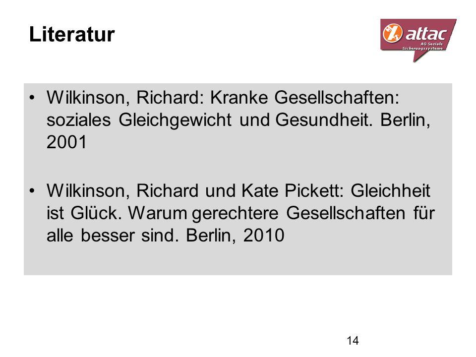 Literatur Wilkinson, Richard: Kranke Gesellschaften: soziales Gleichgewicht und Gesundheit. Berlin, 2001.