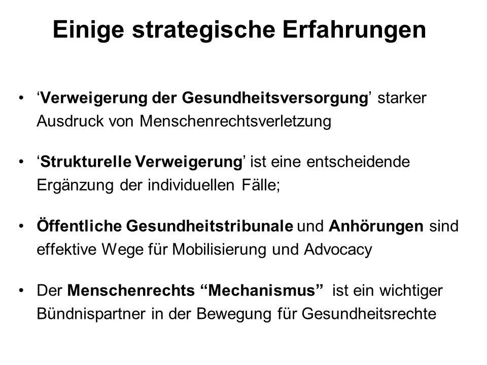 Einige strategische Erfahrungen