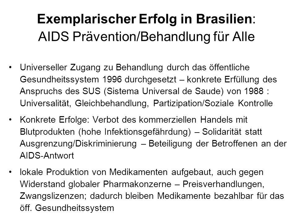 Exemplarischer Erfolg in Brasilien: AIDS Prävention/Behandlung für Alle