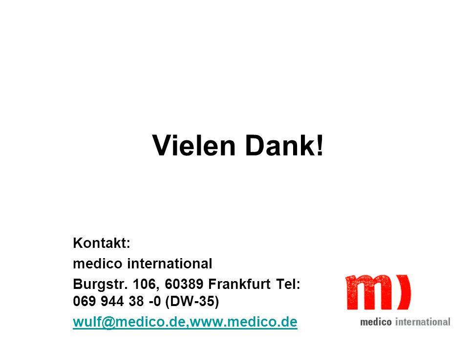 Vielen Dank! Kontakt: medico international