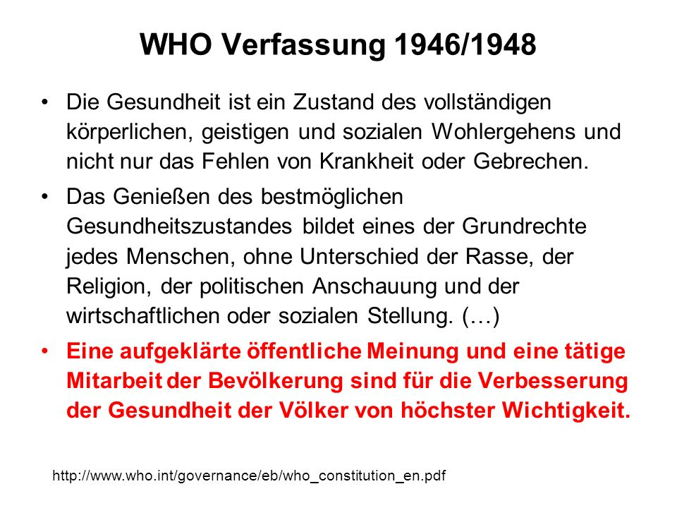 WHO Verfassung 1946/1948