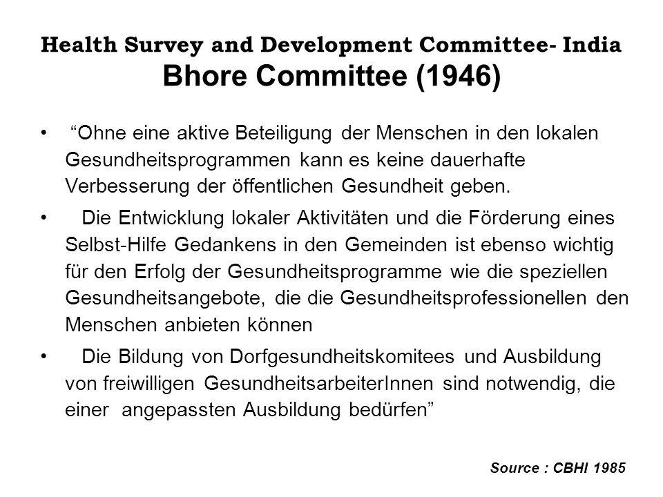 Health Survey and Development Committee- India Bhore Committee (1946)