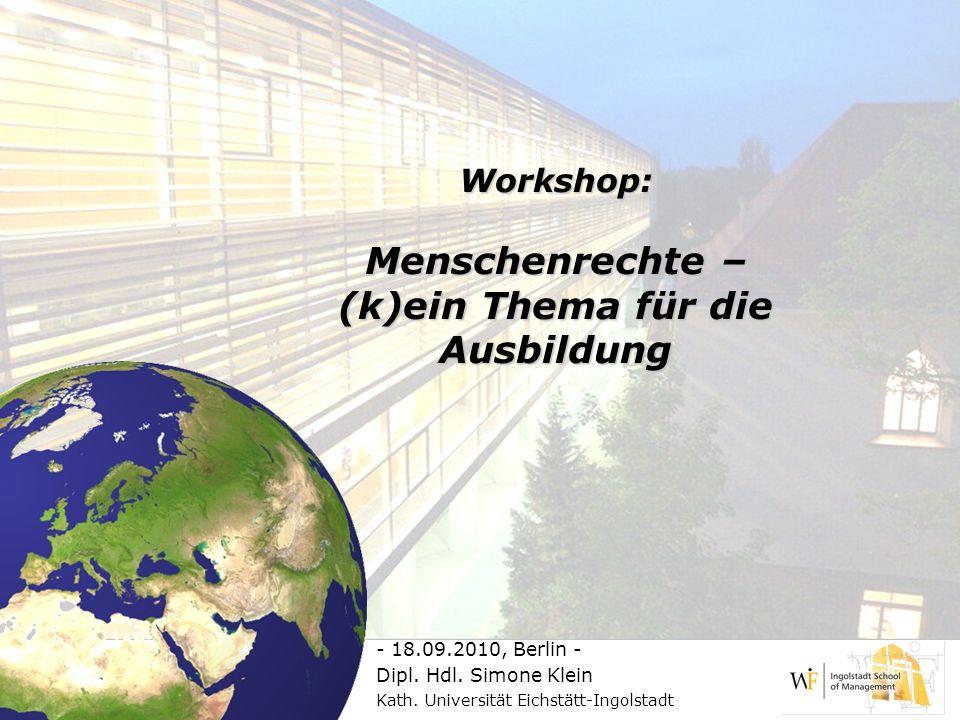 Workshop: Menschenrechte – (k)ein Thema für die Ausbildung