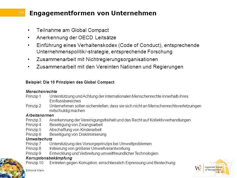 Engagementformen von Unternehmen