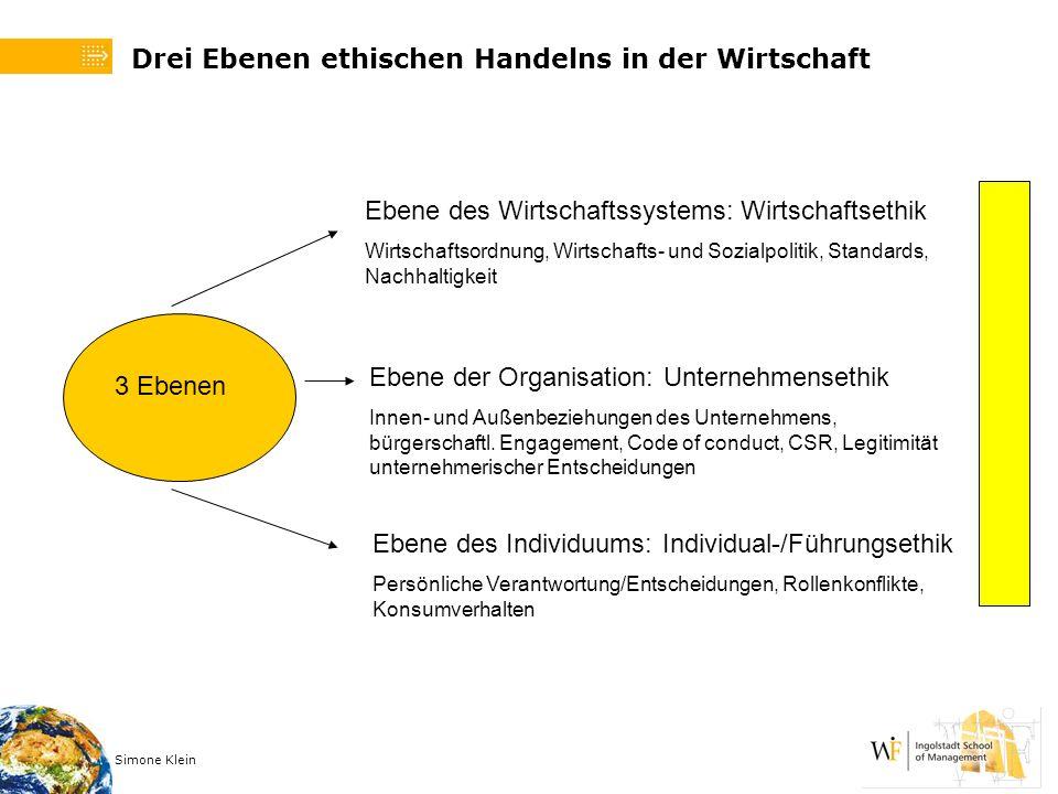 Drei Ebenen ethischen Handelns in der Wirtschaft