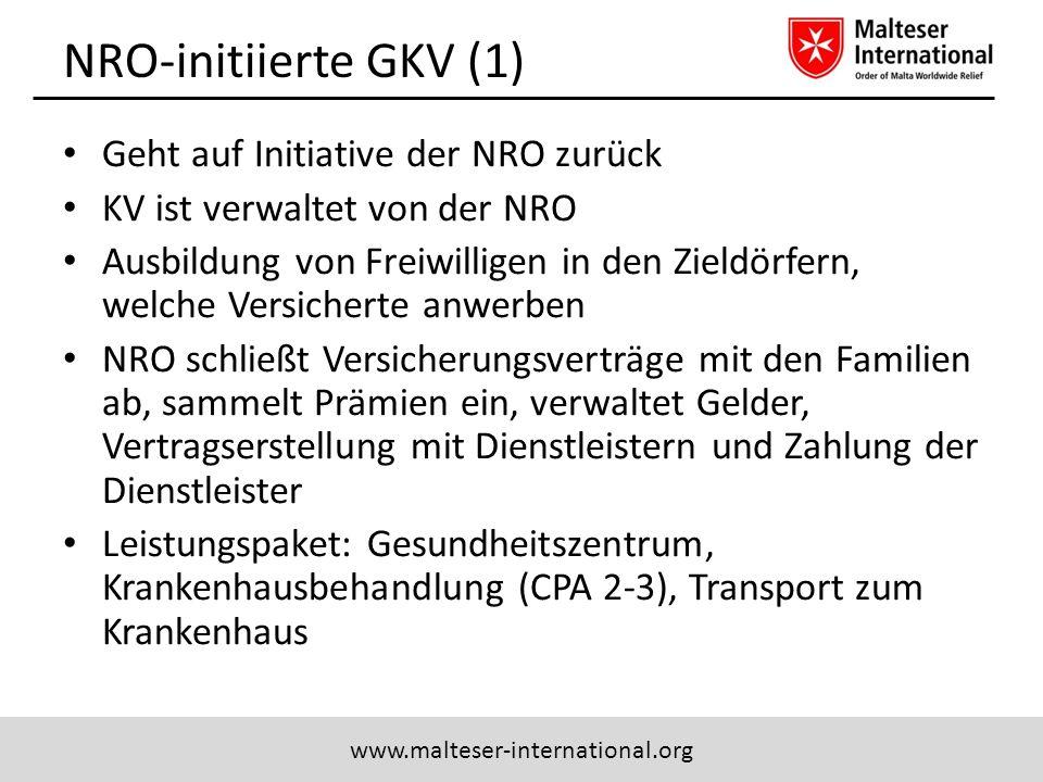 NRO-initiierte GKV (1) Geht auf Initiative der NRO zurück