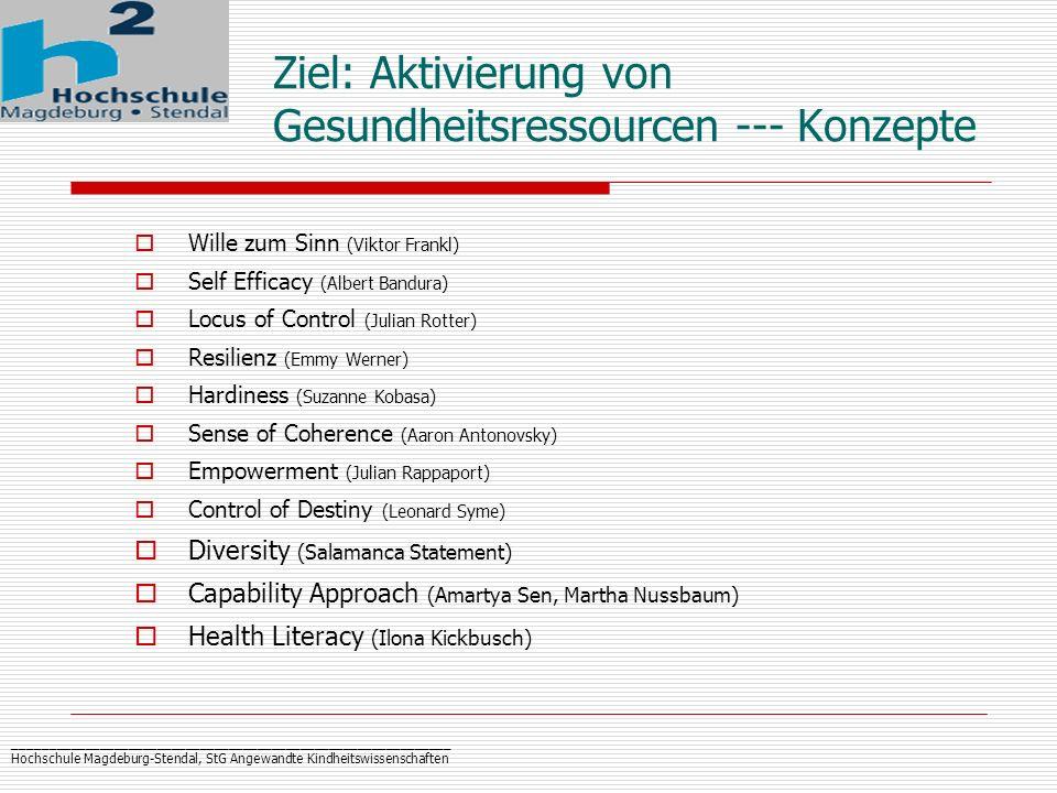 Ziel: Aktivierung von Gesundheitsressourcen --- Konzepte