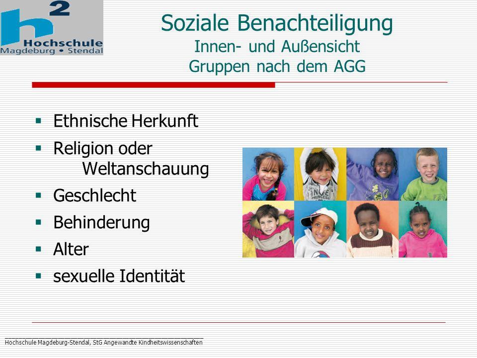 Soziale Benachteiligung Innen- und Außensicht Gruppen nach dem AGG