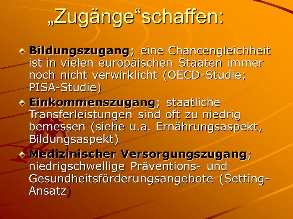 """""""Zugänge schaffen: Bildungszugang; eine Chancengleichheit ist in vielen europäischen Staaten immer noch nicht verwirklicht (OECD-Studie; PISA-Studie)"""