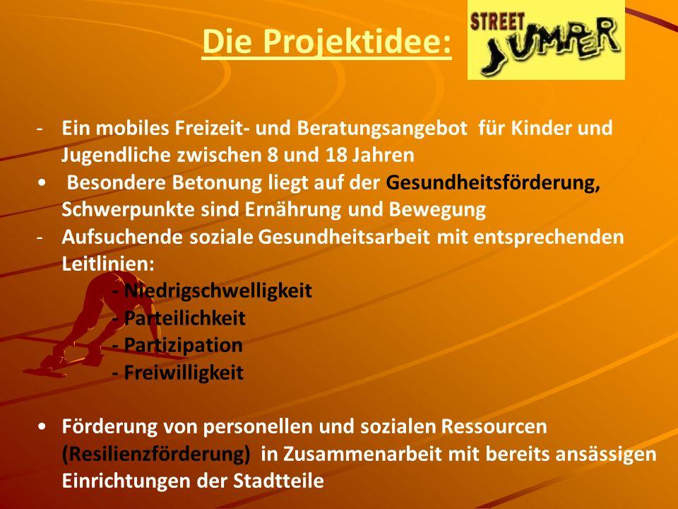 Die Projektidee: Ein mobiles Freizeit- und Beratungsangebot für Kinder und Jugendliche zwischen 8 und 18 Jahren.