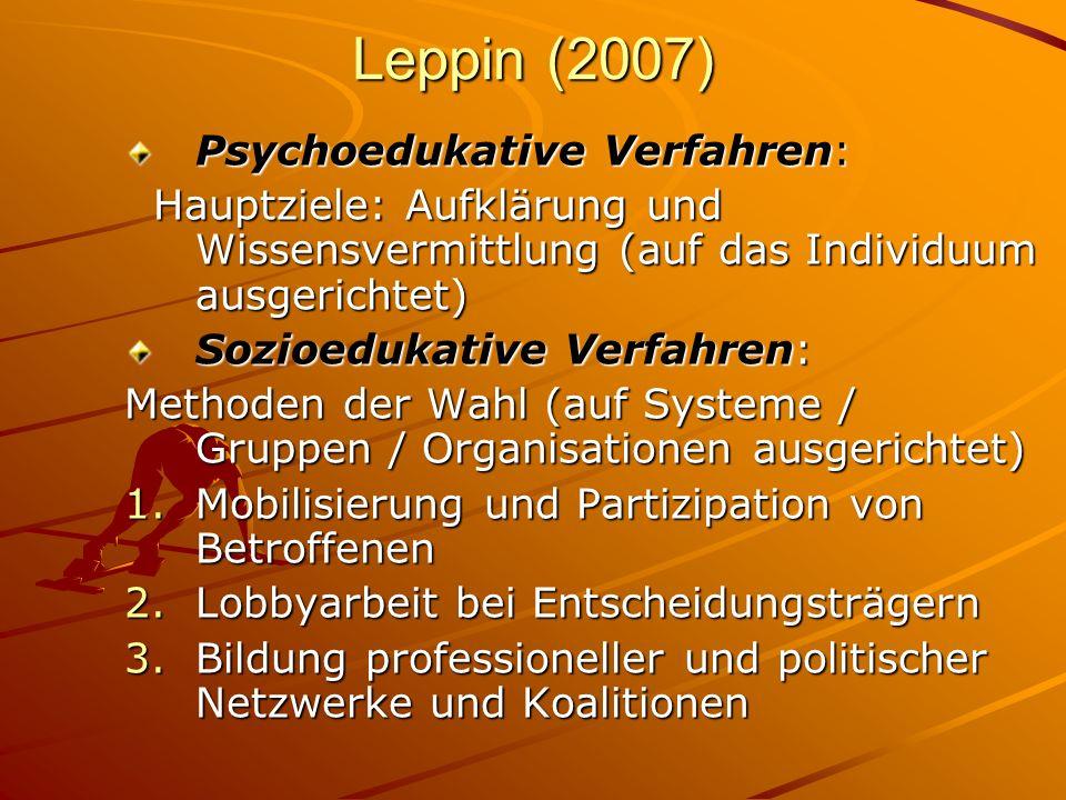 Leppin (2007) Psychoedukative Verfahren: