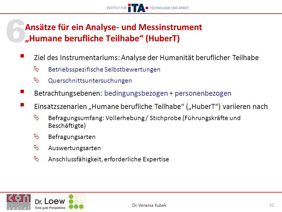 """Ansätze für ein Analyse- und Messinstrument """"Humane berufliche Teilhabe (HuberT)"""