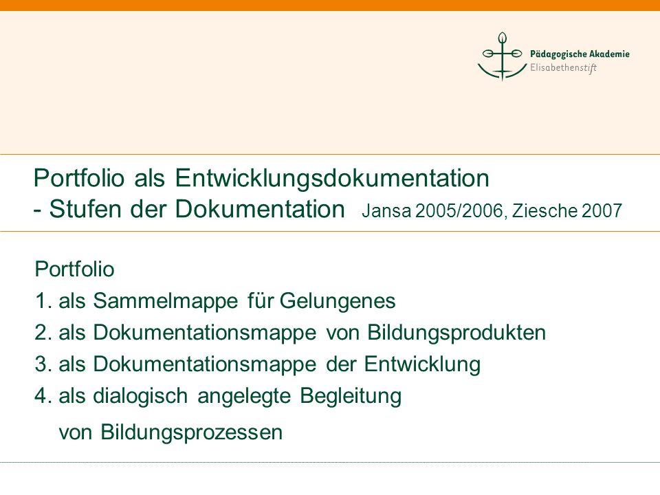 Portfolio als Entwicklungsdokumentation - Stufen der Dokumentation Jansa 2005/2006, Ziesche 2007
