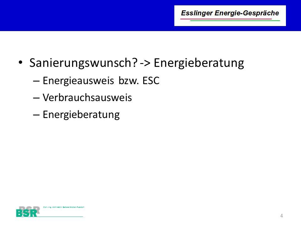 Sanierungswunsch -> Energieberatung