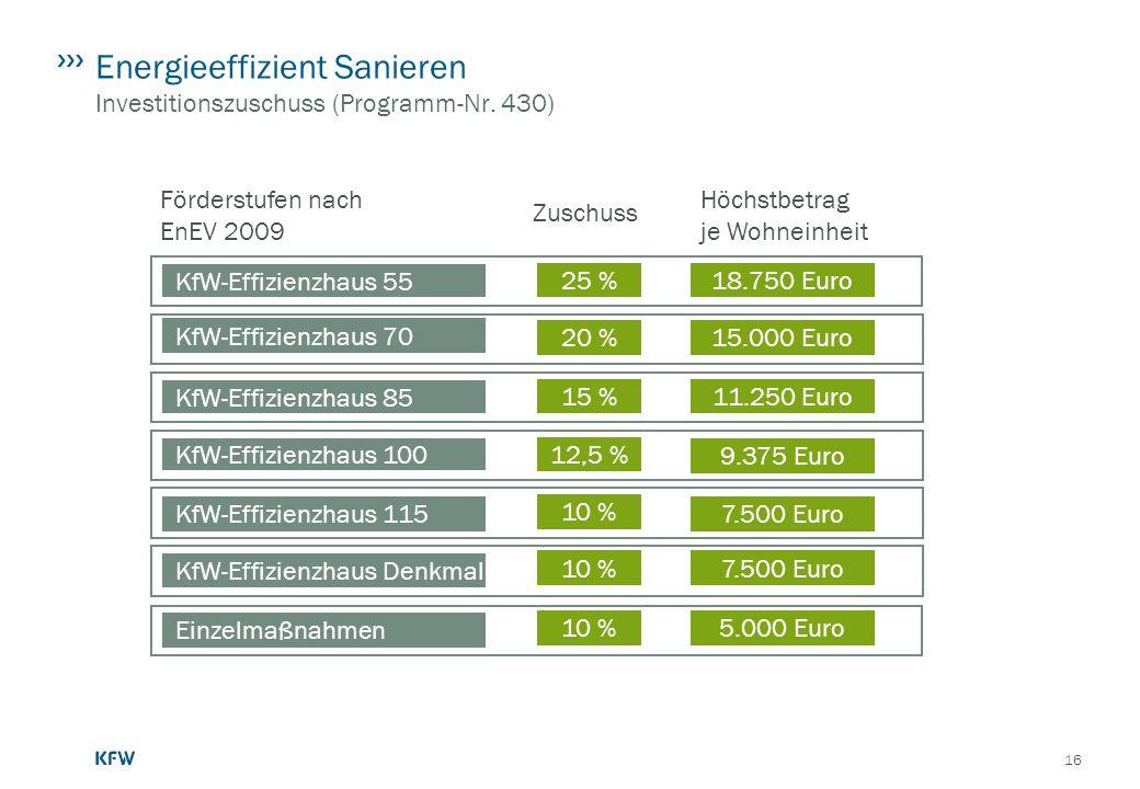 Energieeffizient Sanieren Investitionszuschuss (Programm-Nr. 430)
