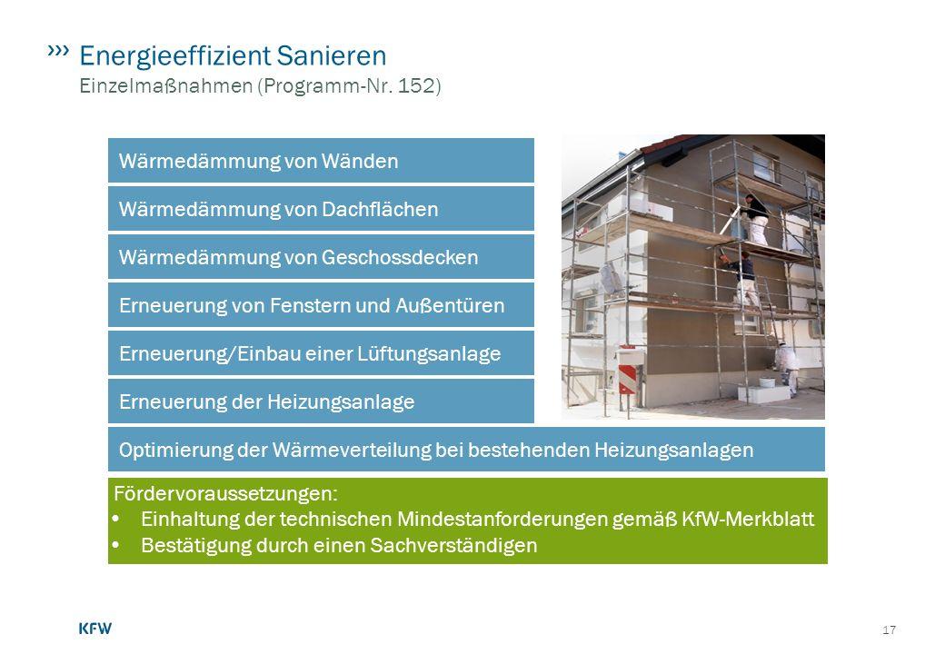 Energieeffizient Sanieren Einzelmaßnahmen (Programm-Nr. 152)