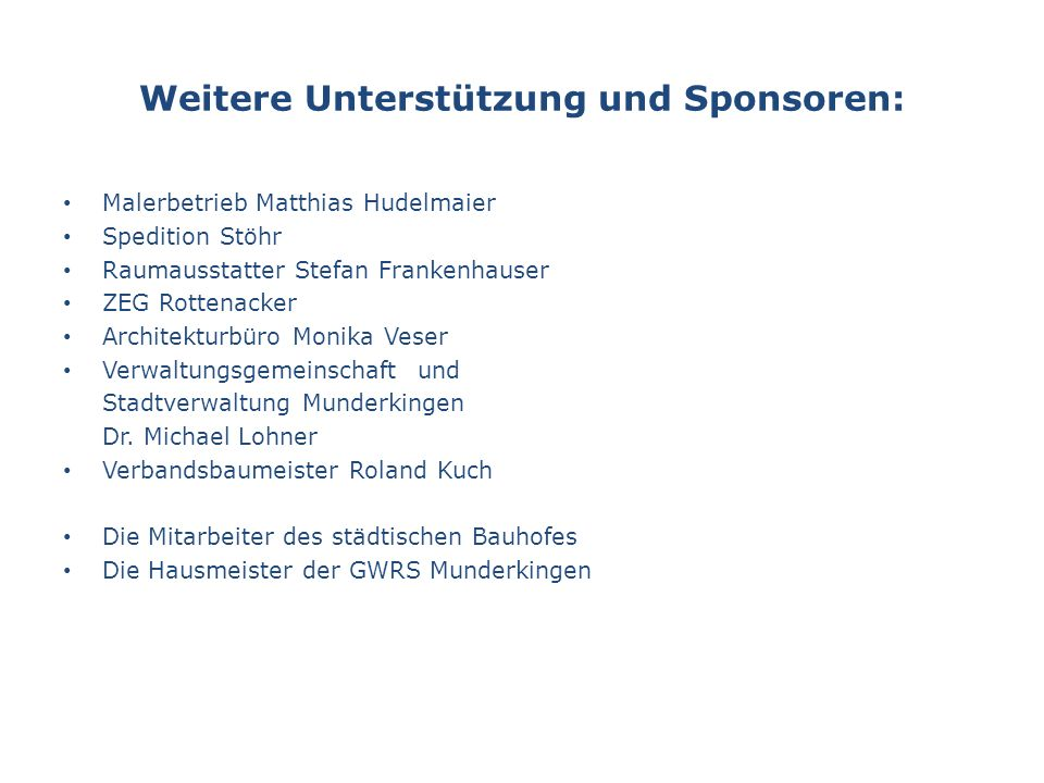 Weitere Unterstützung und Sponsoren: