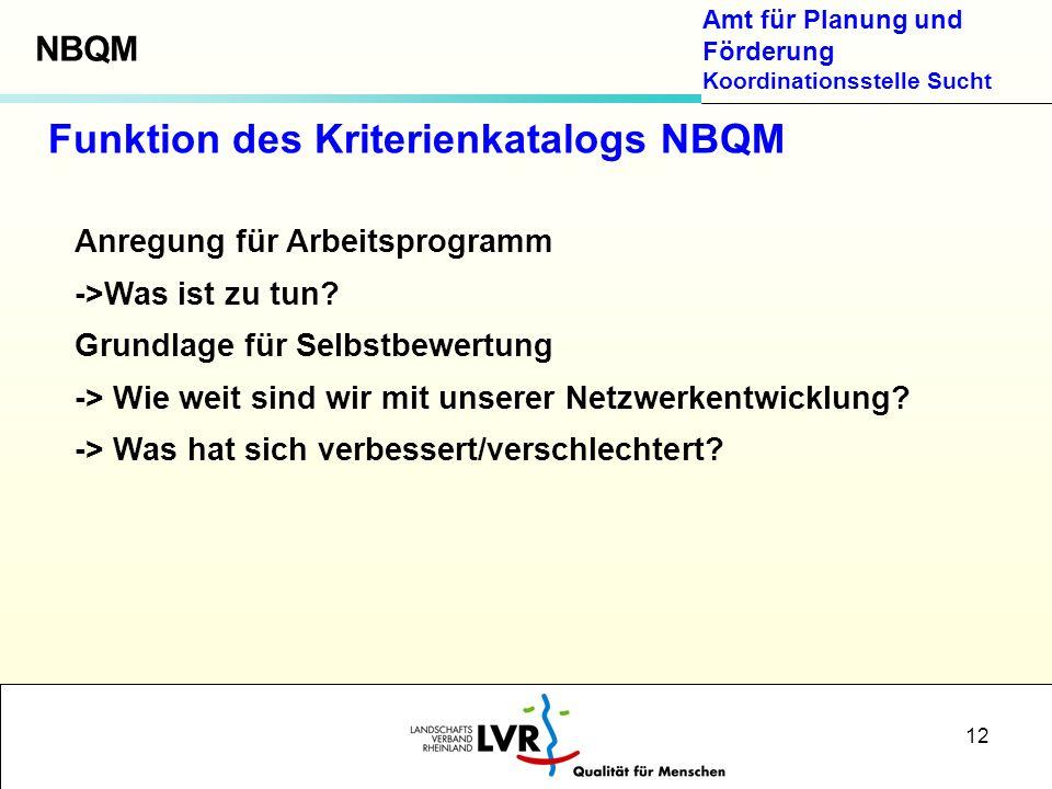 Funktion des Kriterienkatalogs NBQM