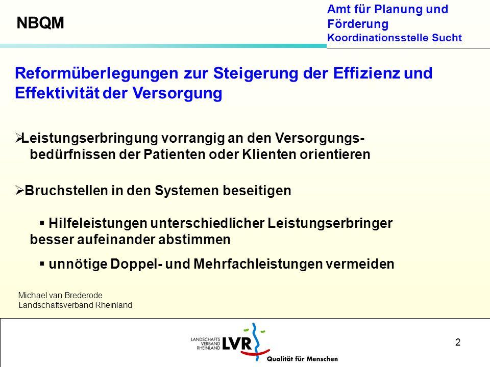 NBQM Reformüberlegungen zur Steigerung der Effizienz und Effektivität der Versorgung. Leistungserbringung vorrangig an den Versorgungs-