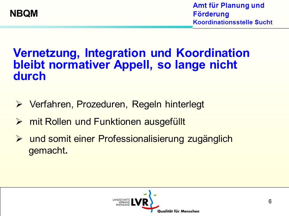 NBQM Vernetzung, Integration und Koordination bleibt normativer Appell, so lange nicht durch. Verfahren, Prozeduren, Regeln hinterlegt.