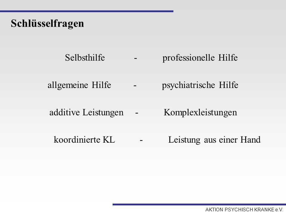 Schlüsselfragen Selbsthilfe - professionelle Hilfe