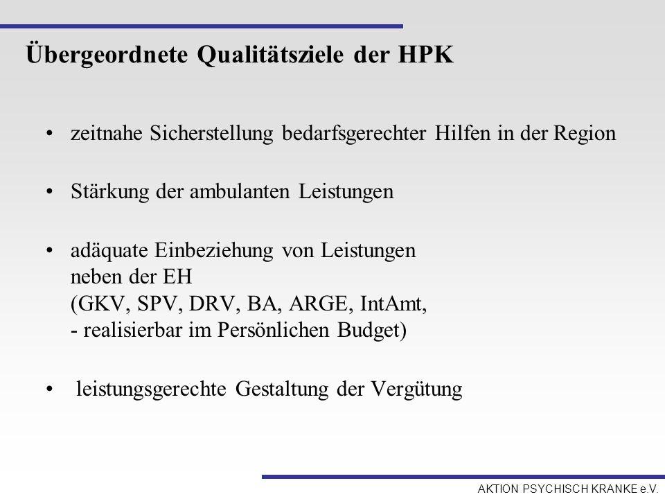 Übergeordnete Qualitätsziele der HPK