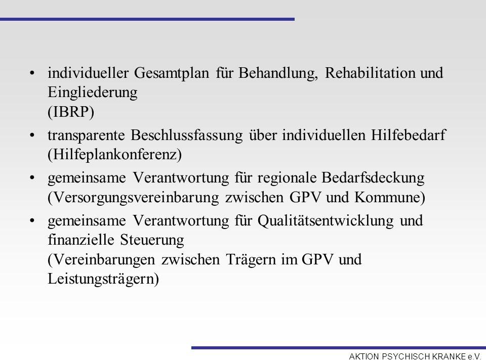 individueller Gesamtplan für Behandlung, Rehabilitation und Eingliederung (IBRP)