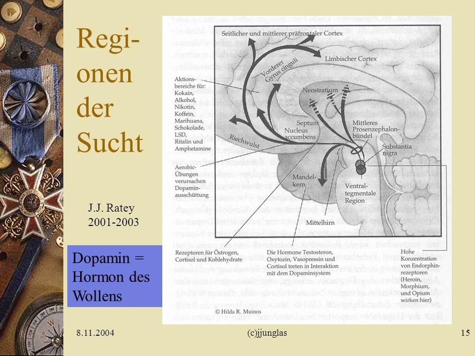 Regi- onen der Sucht Dopamin = Hormon des Wollens J.J. Ratey 2001-2003