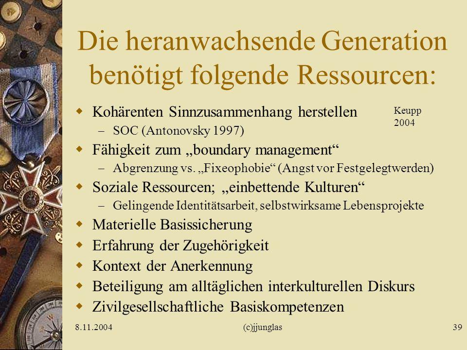 Die heranwachsende Generation benötigt folgende Ressourcen: