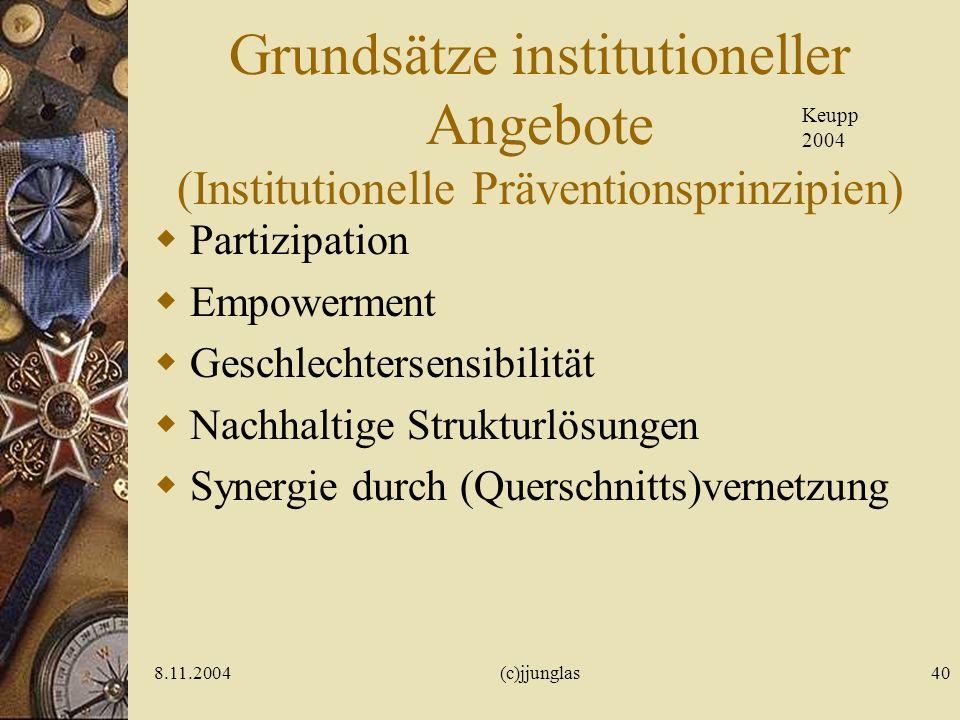 Grundsätze institutioneller Angebote (Institutionelle Präventionsprinzipien)