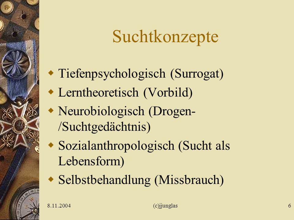 Suchtkonzepte Tiefenpsychologisch (Surrogat) Lerntheoretisch (Vorbild)