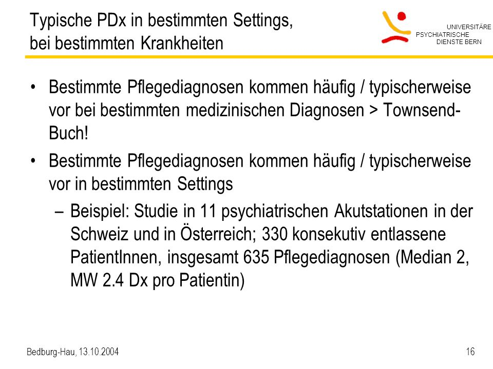 Typische PDx in bestimmten Settings, bei bestimmten Krankheiten