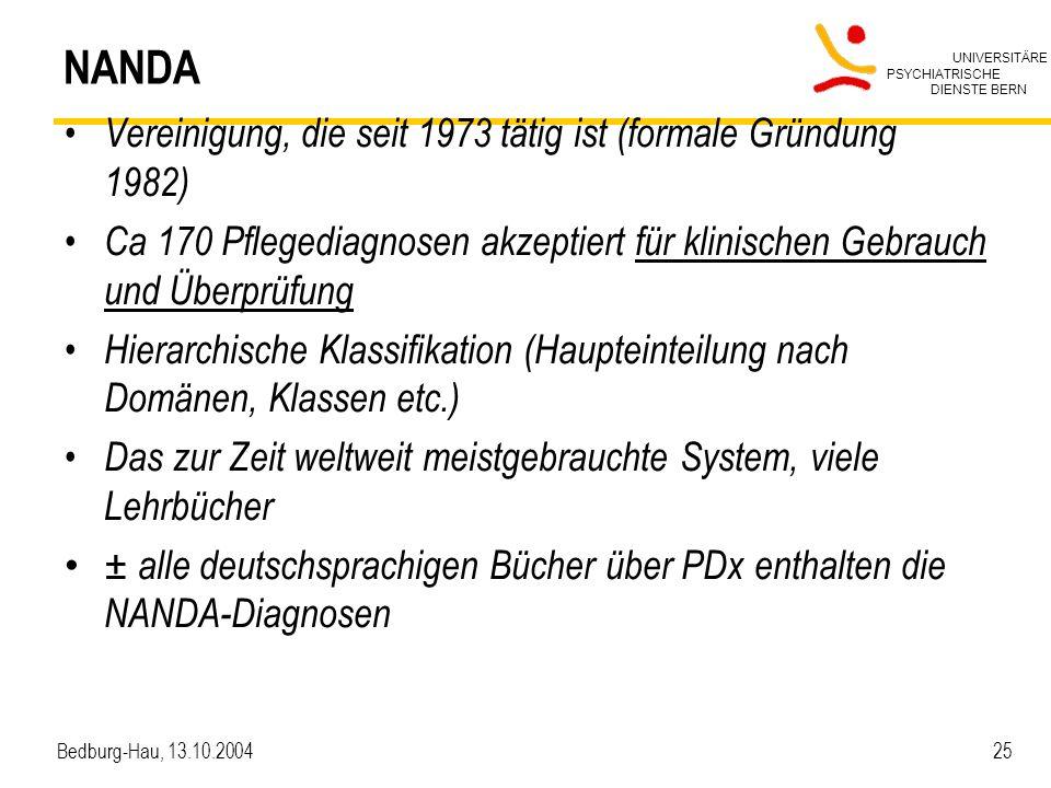 NANDA Vereinigung, die seit 1973 tätig ist (formale Gründung 1982)