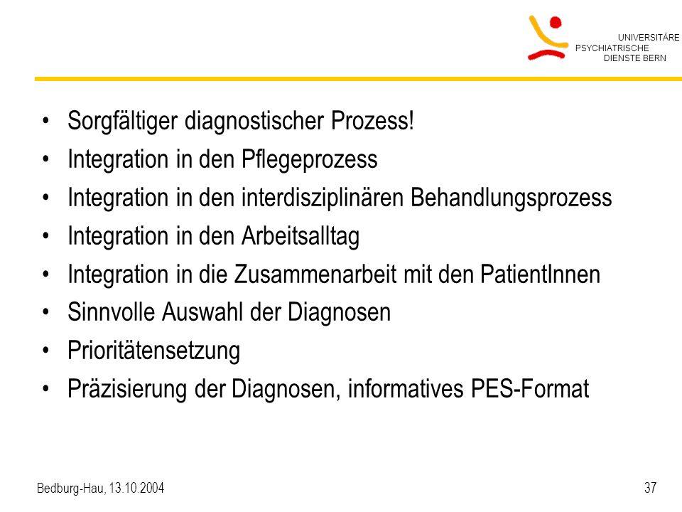 Sorgfältiger diagnostischer Prozess! Integration in den Pflegeprozess