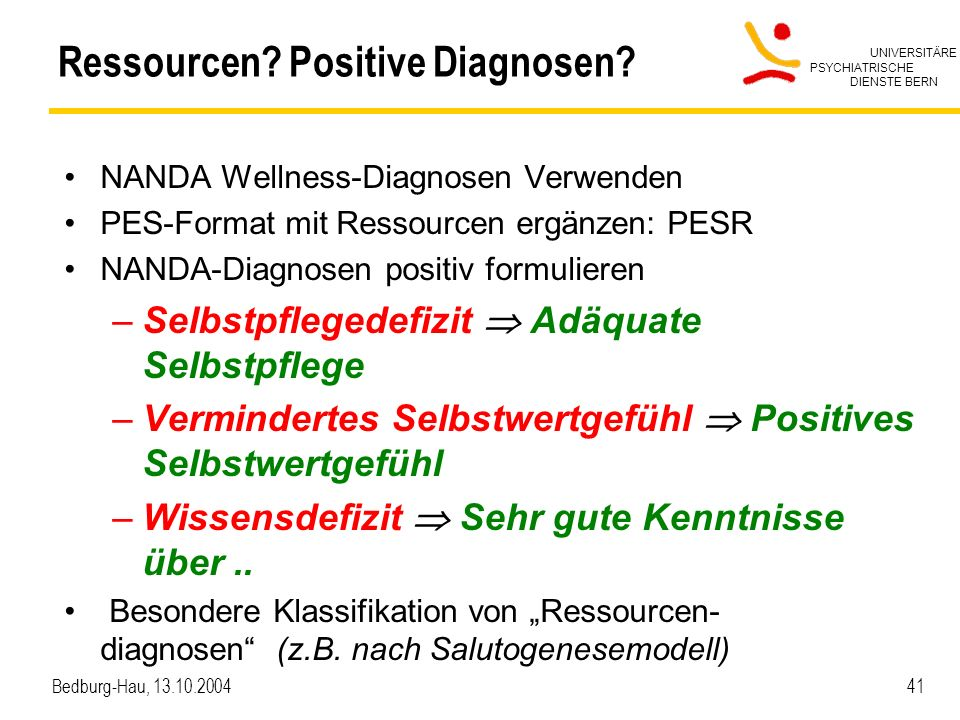 Ressourcen Positive Diagnosen