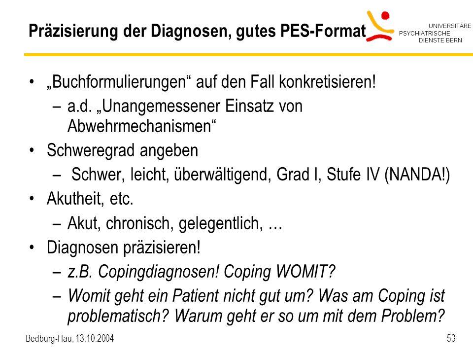 Präzisierung der Diagnosen, gutes PES-Format