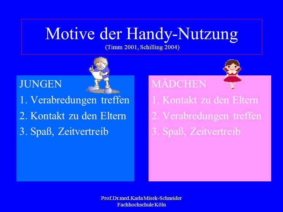 Motive der Handy-Nutzung (Timm 2001, Schilling 2004)