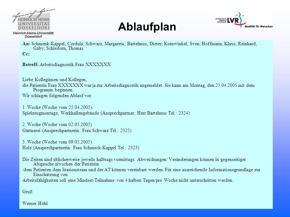 Ablaufplan An: Schmenk-Kappel, Cordula; Schwarz, Margareta; Bartelmus, Dieter; Kornwinkel, Sven; Hoffmann, Klaus; Reinhard, Gaby; Schledorn, Thomas.