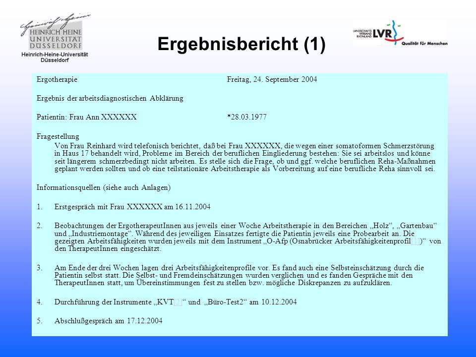 Ergebnisbericht (1) Ergotherapie Freitag, 24. September 2004
