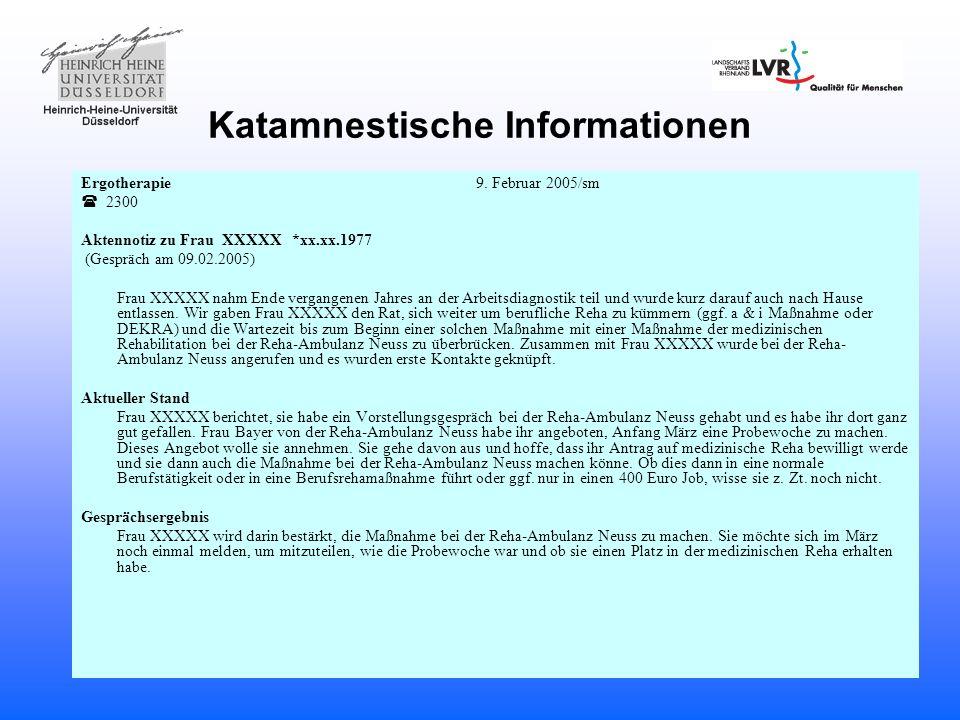 Katamnestische Informationen