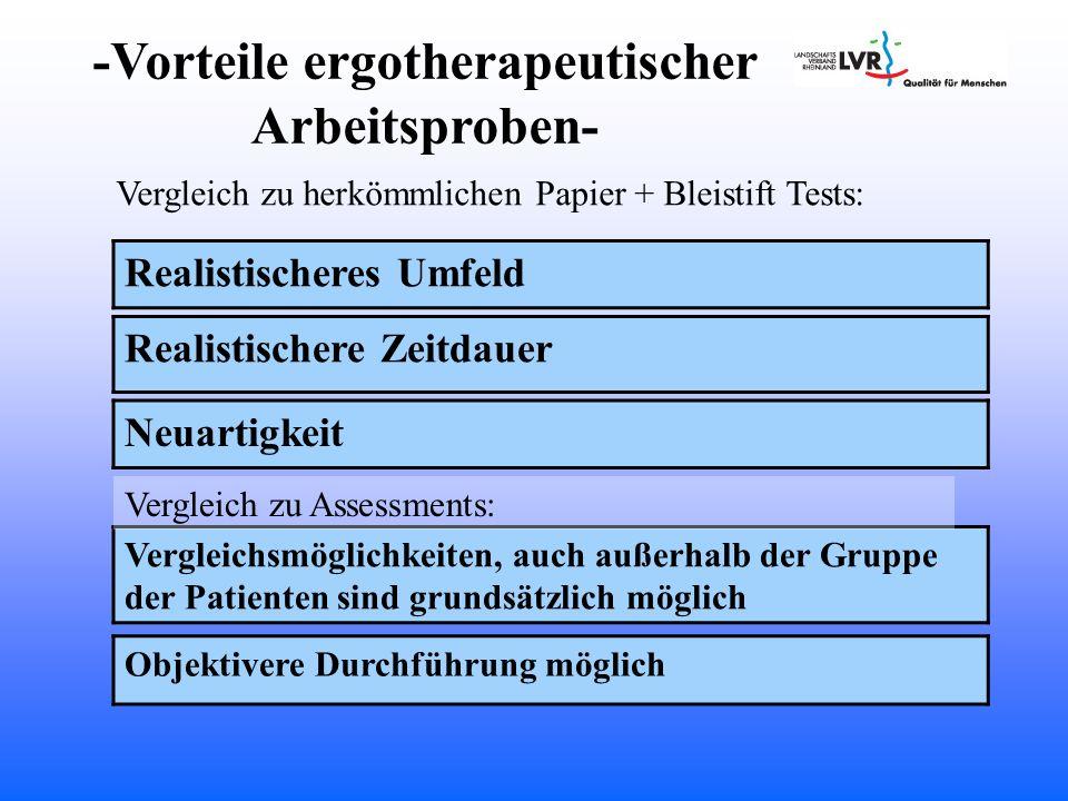 -Vorteile ergotherapeutischer Arbeitsproben-