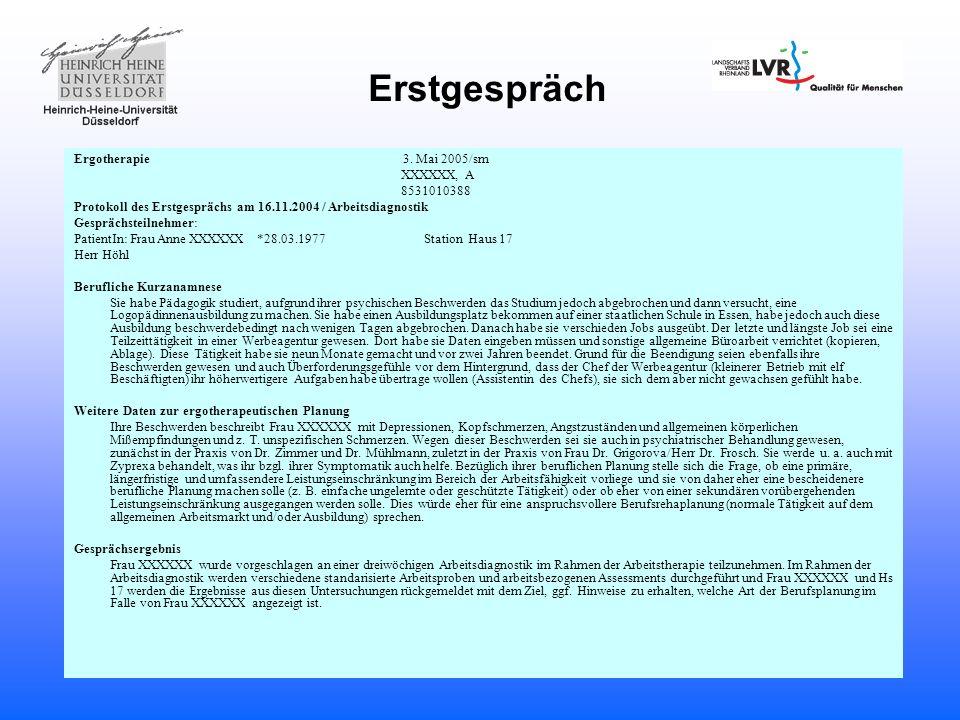 Erstgespräch Ergotherapie 3. Mai 2005/sm XXXXXX, A 8531010388