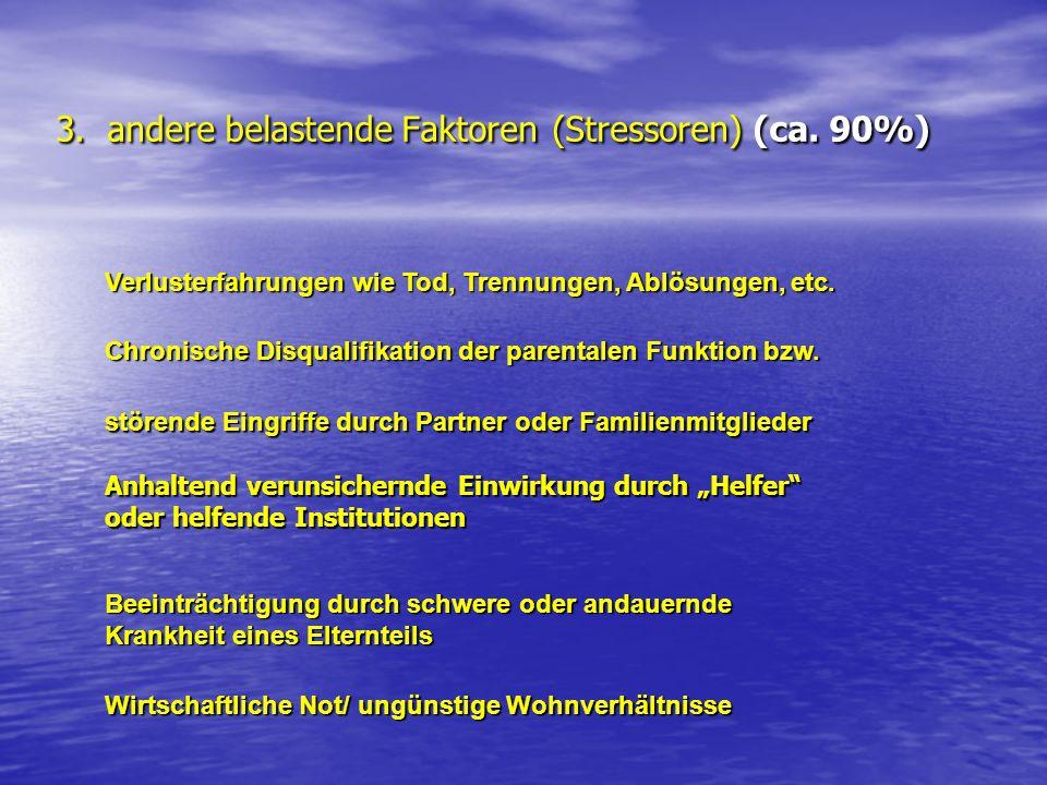 3. andere belastende Faktoren (Stressoren) (ca. 90%)