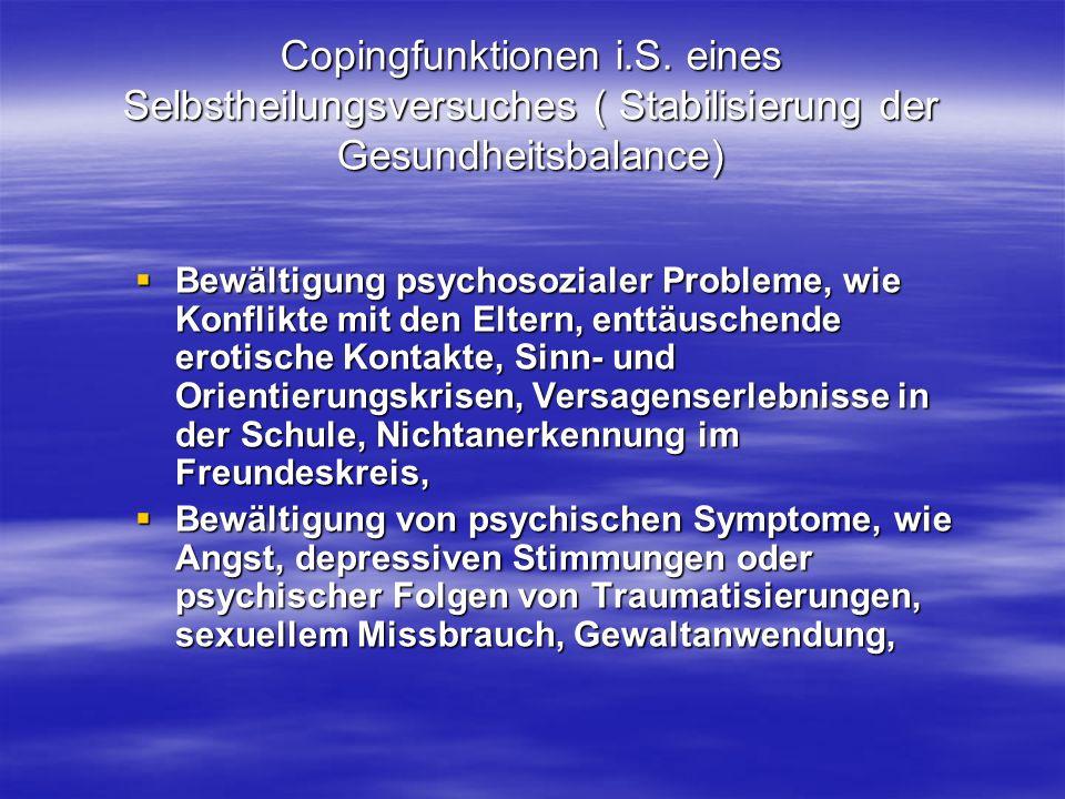 Copingfunktionen i.S. eines Selbstheilungsversuches ( Stabilisierung der Gesundheitsbalance)