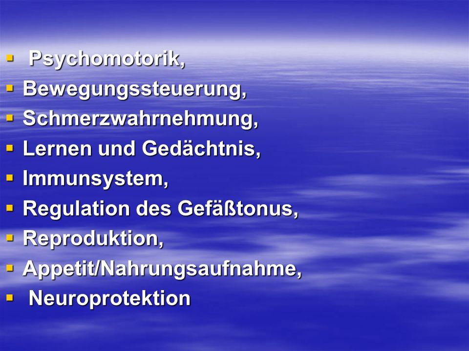 Psychomotorik, Bewegungssteuerung, Schmerzwahrnehmung, Lernen und Gedächtnis, Immunsystem, Regulation des Gefäßtonus,