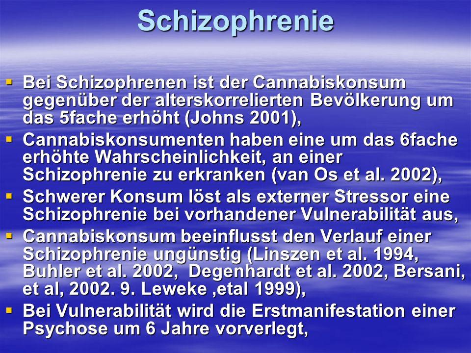 SchizophrenieBei Schizophrenen ist der Cannabiskonsum gegenüber der alterskorrelierten Bevölkerung um das 5fache erhöht (Johns 2001),