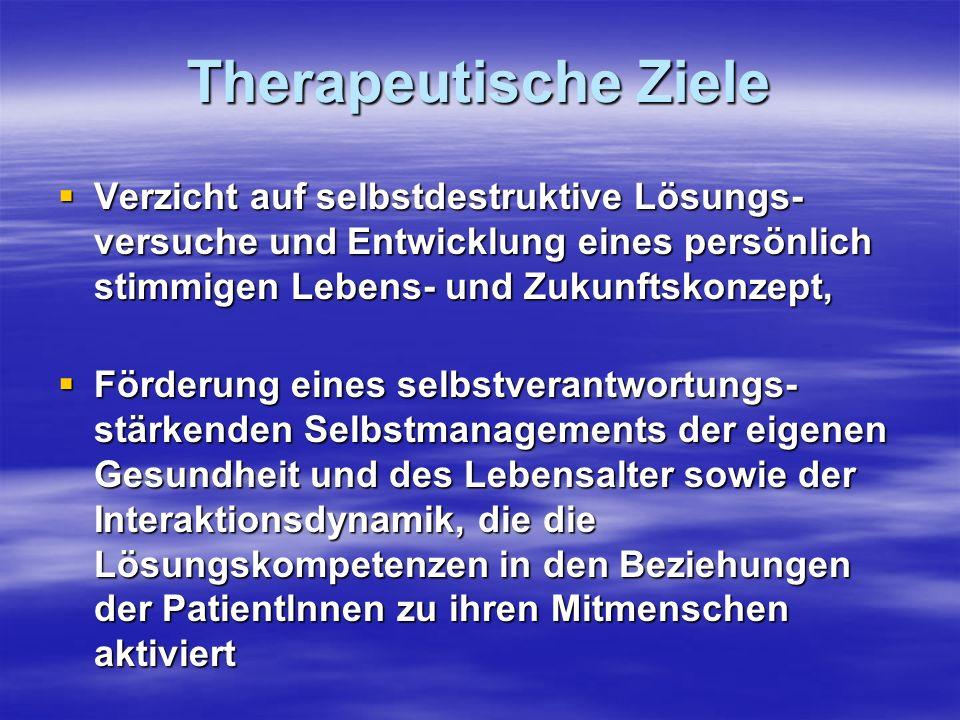 Therapeutische ZieleVerzicht auf selbstdestruktive Lösungs-versuche und Entwicklung eines persönlich stimmigen Lebens- und Zukunftskonzept,